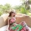 ชุดเดรสยาวใส่ไปเที่ยวทะเลสวยๆ โทนสีชมพู เขียว สายเดี่ยว เอวยืด ผ้าชีฟอง สวมใส่สบาย thumbnail 5