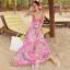 ชุดเดรสยาว แซกยาว ใส่ไปเที่ยวทะเลสวยๆ โทนสีชมพู สายเดี่ยว พิมพ์ลายสวยๆ