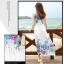 ชุดเดรสยาวสีขาว พิมพ์ลายดอกไม้สีน้ำเงิน ผ้าชีฟอง แขนกุด คอกลม ใส่ไปเที่ยวทะเล thumbnail 2