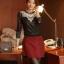เสื้อทำงาน ผ้าลูกไม้ สีดำ คอแต่งระบายด้วยลูกไม้สีขาว แขนยาว เป็นเสื้อทำงานไสต์เรียบหรู, S M L XL thumbnail 5