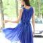 ชุดเดรสสั้นสีน้ำเงิน แขนกุด คอวี ผ้าชีฟอง ใส่ออกงาน ก็สวยเก๋ thumbnail 3