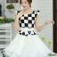 ชุดเดรสทำงานสาวออฟฟิศ สีดำขาว ลายตาราง กระโปรงสีขาว แนวเกาหลี สวยหวาน เรียบร้อย thumbnail 5