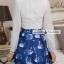 ชุดเดรสสั้นโทนสีฟ้าขาวสวยๆ สไตล์เกาหลี เสื้อเชิ้ตคอปกประดับคริสตัล แขนยาว เย็บต่อด้วยกระโปรงสีน้ำเงินพิมพ์ลายนกสวยเก๋ ใส่เที่ยว ใส่ทำงานได้ thumbnail 11