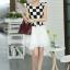 ชุดเดรสทำงานสาวออฟฟิศ สีดำขาว ลายตาราง กระโปรงสีขาว แนวเกาหลี สวยหวาน เรียบร้อย thumbnail 8