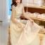 ชุดเดรสยาวสวยๆ สีครีมเบจ เสื้อผ้าลูกไม้อย่างดีเย็บต่อด้วยกระโปรงผ้าชีฟอง ใส่ไปงานแต่งงาน ออกงานเลี้ยง ให้ลุคสวยหรู ดูดี ( S M L XL ) thumbnail 12