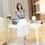 ชุดเดรสยาวสวยหรู โทนสีน้ำเงินขาว ปักลายสวยเก๋ เอวคาด กระโปรงสีขาวผ้าชีฟอง thumbnail 10