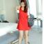 ชุดเดรสสั้นสีแดง เรียบร้อยน่ารัก สดใส แขนสามส่วน กระโปรงทรงบานปลายสวยเก๋ thumbnail 5