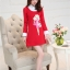 ชุดเดรสสั้นสีแดง คอปกสีขาว ปลายแขนพับขึ้น ด้านหน้าพิมพ์ลายตุ๊กตาน่ารักๆ แนวเกาหลี thumbnail 7