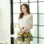 ชุดเดรสสั้นลายดอกไม้ เสื้อผ้าลูกไม้สีขาว เย็บต่อด้วยกระโปรงสั้นลายดอกไม้สีเหลือง เป็นชุดเดรสแฟชั่นน่ารักๆ สไตล์เกาหลี ( S,M,L,XL,) thumbnail 7