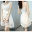 ชุดเดรสสั้นน่ารักๆ สีขาว แขนกุด พร้อมผ้าผูกเอวเข้าชุด ผ้าไหมแก้ว thumbnail 5