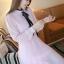 ชุดเดรสทำงานแนววินเทจ สีชมพู ผ้าชีฟอง คอเต๋า แขนยาว กระโปรงพลีท เป็นชุดเดรสหวาน แบบสวย น่ารัก สไตล์แฟชั่นเกาหลี ( M L ) thumbnail 2