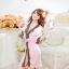 เซ็กซี่ชุดชั้นในลูกไม้ Robe ชุดนอน Nightgown + G-String สีขาว+ชมพูอ่อน thumbnail 3