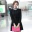 ชุดทำงานแฟชั่นเกาหลีสวยๆ มินิเดรสน่ารัก เดรสสั้น แขนยาว สีดำ คอประดับคริลตัล ( S M L XL ) thumbnail 6