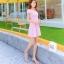 ชุดเดรสทำงานสีชมพูแนวหวานน่ารักๆ สีชมพูลายจุด แขนสั้น กระโปรงบาน thumbnail 6