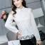 เสื้อทำงานแฟชั่นเกาหลี เรียบหรู ดูดี เสื้อเชิ้ตสีขาว แขนยาว คอปก ผ้าชีฟอง + ลูกไม้ , S M L XL thumbnail 5
