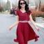 ชุดเดรสทำงานสีแดง ผ้าชีฟอง ลุคสาวหวาน เรียบร้อย สวยๆ สไตล์คุณครู สาวออฟฟิศ