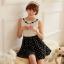 ชุดเดรสแฟชั่นเกาหลี ชุดเดรสแฟชั่นน่ารัก ชุดเดรสสั้น ชุดเดรสสวย ๆ เสื้อคอกลม แขนกุด สีขาว ต่อด้วย กระโปรงสีดำลายจุด ( S,M,L ) thumbnail 1
