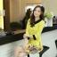 ชุดเดรสทำงาน แนวสวยหวานน่ารัก สีเหลือง คอปก แขนสี่ส่วน เอวเข้ารูป กระโปรงลายดอกไม้ S M L XL thumbnail 9