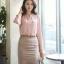 เสื้อทำงานแฟชั่นสไตล์เกาหลีสวยๆ เสื้อแขนยาวสีชมพู คอจีน กระดุมผ่าหน้า ผ้าชีฟองเนื้อผ้าบางเบาใส่สบาย thumbnail 2
