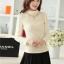 เสื้อทำงานแฟชั่นเกาหลี สีเบจ คอเต๋า แขนยาว ผ้าชีฟอง+ลูกไม้ , M L XL thumbnail 10