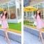 ชุดเดรสทำงานสีชมพูแนวหวานน่ารักๆ สีชมพูลายจุด แขนสั้น กระโปรงบาน thumbnail 4