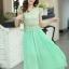 ชุดเดรสยาวสวยๆ สีเขียว เสื้อผ้าลูกไม้อย่างดีเย็บต่อด้วยกระโปรงผ้าชีฟอง ใส่ไปงานแต่งงาน ออกงานเลี้ยง ให้ลุคสวยหรู ดูดี S M L XL thumbnail 1