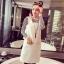 ชุดแฟชั่นเกาหลีน่ารักๆ สีขาว เสื้อลายขวางแขนยาว + เดรสสั้นแขนกุดทรงตรง