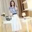 ชุดเดรสยาวสวยหรู โทนสีน้ำเงินขาว ปักลายสวยเก๋ เอวคาด กระโปรงสีขาวผ้าชีฟอง