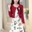 ชุดทำงานแฟชั่นเกาหลีสวยๆ มินิเดรสกระโปรงสั้น ชุดเซ็ท 2 ชิ้น ชุดเดรสสั้นพิม์ลายน่ารักๆ + เสื้อคลุมเก๋ๆ สีเบจ( M L XL XXL ) thumbnail 6