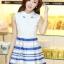 ชุดออกงานสวยๆแฟชั่นเกาหลี สีน้ำเงิน ผ้าลูกไม้ เหมาะกับการใส่ทำงาน หรือจะใส่ออกงาน ไปงานแต่งงานก็ได้ จะให้ลุคที่สวยสง่า thumbnail 1