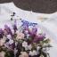 ชุดเดรสทำงานแฟชั่นสไตล์เกาหลีสวยๆ ชุดแซกกระโปรงใส่ทำงาน สีขาว พิมพ์ลายดอกไม้สัีน้ำเงิน ผ้าคอลตอลอัดลายดอกไม้ ซิปหลัง , thumbnail 4