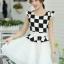 ชุดเดรสทำงานสาวออฟฟิศ สีดำขาว ลายตาราง กระโปรงสีขาว แนวเกาหลี สวยหวาน เรียบร้อย thumbnail 4