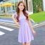 ชุดเดรสทำงานสีชมพูแนวหวานน่ารักๆ สีม่วงลายจุด แขนสั้น กระโปรงบาน thumbnail 1