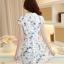 ชุดเดรสสั้นสีขาว พิมพ์ลายนกน่ารักๆ ผ้าซีทรูปักลายน่ารักๆ เนื้อผ้ามันเงานิดๆ ให้ความรู้สึกสวยหรู ซับในอย่างดี คอปกปักลายเก๋ๆแต่งคริสตัลสีเงิน เอวเข้ารูป กระโปรงบานทรงสวิง thumbnail 9