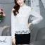 เสื้อทำงานแฟชั่นเกาหลี เรียบหรู ดูดี เสื้อเชิ้ตสีขาว แขนยาว คอปก ผ้าชีฟอง + ลูกไม้ , S M L XL thumbnail 8