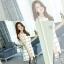 ชุดเดรสสั้นสีขาวพิมพ์ลายตาราง ทรงตรง แขนกุด ใส่เป็นชุดทำงาน ชุดเดรสลำลอง สวยๆสไตล์เกาหลี thumbnail 3