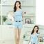 ชุดเดรสแฟชั่นเกาหลี ชุดเดรสแฟชั่นน่ารัก ชุดเชตเสื้อคอกลมแขนกุด + กางเกงขาสั้น ( M, L, XL ) thumbnail 2