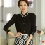 เสื้อทำงานแฟชั่นสไตล์เกาหลีสวยๆ เสื้อแขนยาวสีดำ ผ้าชีฟอง คอจีนประดับมุก ,เสื้อทำงานสวยๆราคาถูก thumbnail 4