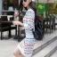 ชุดเดรสแฟชั่นสไตล์เกาหลีสวยๆ ชุดเซ็ดแยกชิ้นสีขาว เสื้อแขนยาว , กระโปรงสั้นเข้ารูป ผ้าไหมพรม เนื้อผ้ายืดได้ thumbnail 3