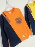 *ส่งฟรี* เสื้อผ้าเด็กนำเข้า ขายส่งยกแพ็คพร้อมส่ง เสื้อยืดแขนยาว CI-SI สีส้ม-กรม แต่งประเป๋าหนังเทียม ไซส์ 100, 110, 120, 130, 140 #7399