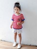 *ส่งฟรี EMS* เสื้อผ้าเด็กนำเข้า เสื้อยืดแขนสั้น Hotpet ลายขวางสีแดง สกรีนสมอเรือ ไซส์ 90, 100, 110, 120, 130