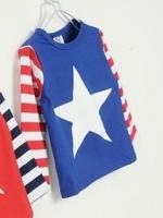 *ส่งฟรี* เสื้อผ้าเด็กนำเข้า ขายส่งยกแพ็คพร้อมส่ง เสื้อยืดแขนยาว CI-SI สีน้ำเงินแขนต่อขาวแดง สกรีนดาว ไซส์ 100, 110, 120, 130, 140 #7379