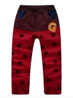 *ส่งฟรี* เสื้อผ้าเด็กนำเข้า กางเกงขายาว Two&Seven เอวยางยืดสีแดง สกรีนลายดาว ไซส์ 110, 120, 130, 140 #1210