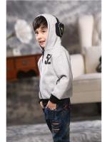 *ส่งฟรี EMS* เสื้อผ้าเด็กนำเข้า เสื้อแจ็คเก็ตกันหนาวสีเทา ผ้าขนสัตว์หนานุ่ม พร้อมแต่งหูฟัง 3D ที่ฮู๊ด ไซส์ 100, 110, 120, 130, 140