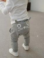 *ส่งฟรี EMS* เสื้อผ้าเด็กนำเข้า กางเกงผ้ายืดขาจั๊มสีเทา ด้านหลังแต่งกระเป๋าสกรีนลายกระต่าย ไซส์ 90, 95, 100, 110, 120