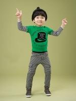 *ส่งฟรี EMS* เสื้อผ้าเด็กนำเข้า เสื้อยืดแขนต่อลายขวาง สีเขียวสกรีนลายหมวก ไซส์ 90, 100, 110, 120, 130