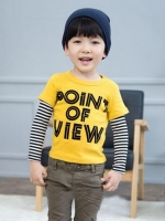 *ส่งฟรี EMS* เสื้อผ้าเด็กนำเข้า เสื้อยืดแขนต่อลายขวาง Hotpet สีเหลือง สกรีน POINT OF VIEW ไซส์ 90, 100, 110, 120, 130