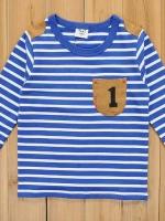 *ส่งฟรี* เสื้อผ้าเด็กนำเข้า ขายส่งยกแพ็คพร้อมส่ง เสื้อยืดแขนยาว CI-SI ลายขวางสีฟ้าขาว แต่งกระเป๋าหน้า ไซส์ 100, 110, 120, 130, 140 #7396