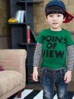 *ส่งฟรี EMS* เสื้อผ้าเด็กนำเข้า เสื้อยืดแขนต่อลายขวาง Hotpet สีเขียว สกรีน POINT OF VIEW ไซส์ 90, 100, 110, 120, 130