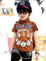 *ส่งฟรี EMS* เสื้อผ้าเด็กนำเข้า เสื้อยืดแขนสั้น Hotpet สีน้ำตาล สกรีน FRANKIN Baseball ไซส์ 90, 100, 110, 120, 130